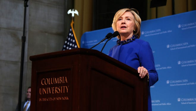 Hillary Clinton delivers the keynote address at the 18th annual David N. Dinkins Leadership and Public Policy Forum at Columbia University in New York on Wednesday.