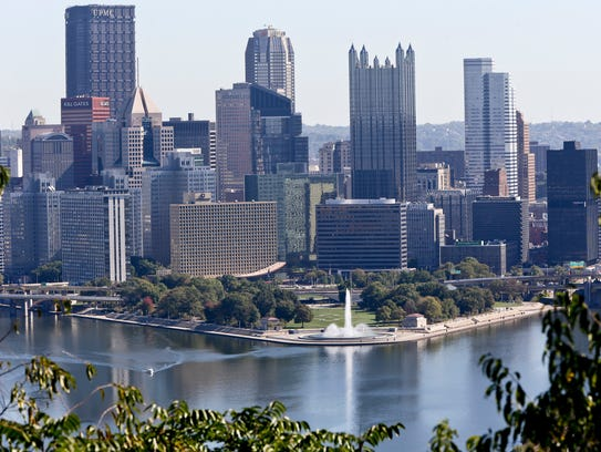 The skyline of downtown Pittsburgh, known as the Golden
