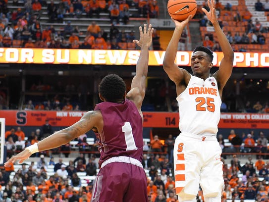 Syracuse Orange guard Tyus Battle (25) shoots the ball