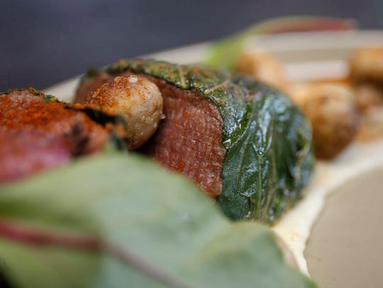 Tenderloin wrapped in Swiss chard, prepared by Jacob