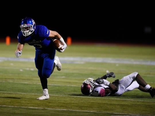 Dwight Morrow at NV/Demarest on Friday, November 10, 2017. D #3 Endrit Kaleci avoids a tackle in the second quarter.