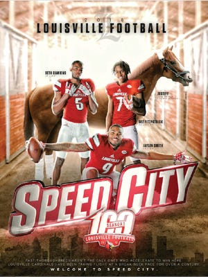 Triple Crown winner Justify appears on Louisville football's 2018 media guide cover with Seth Dawkins, Dez Fitzpatrick and Jaylen Smith.