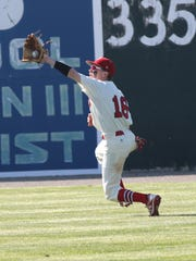 Plymouth's Camden Welch catches a grounder during the