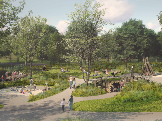 A rendering of the nature playscape Blue Ash plans