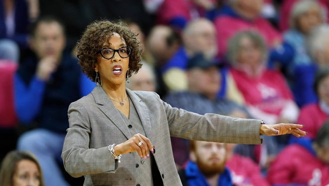 Northern Iowa head coach Tanya Warren directs her team during the first half of an NCAA college basketball game against Drake, Friday, Feb. 24, 2017, in Des Moines, Iowa. (AP Photo/Charlie Neibergall)