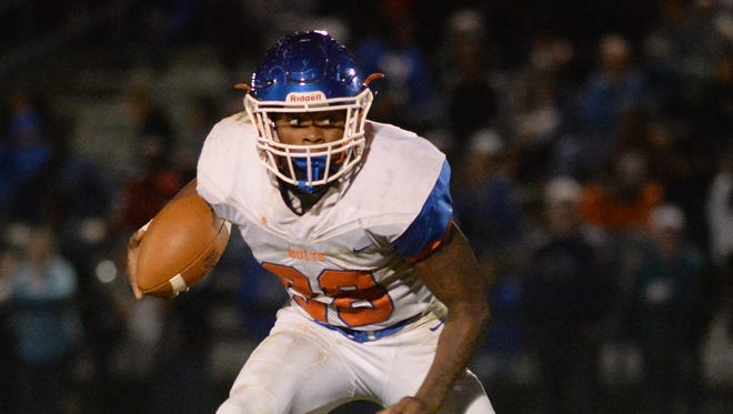 Millville's Clayton Scott looks for running room during Saturday night's football game against Williamstown. 09.30.17.