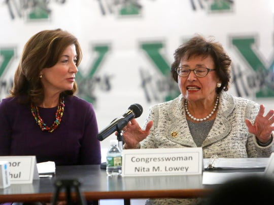 Lt. Gov. Kathy Hochul and U.S. Rep. Nita Lowey hosted a round-table discussion on encouraging women and girls to enter in STEM fields at Yorktown High School on Monday.