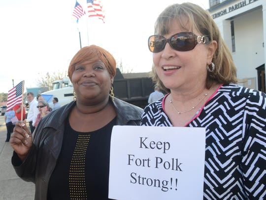 Jessica Smith (left) and Debbie Ross were among the community members who came out in support of Fort Polk when Army officials visited in March.