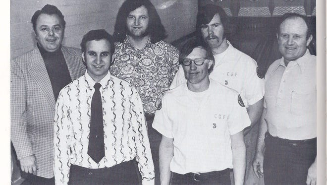The 1973 College of Great Falls bowling team, from left to right: Coach Bill Gianoulias, Myron Olson, Bob Aleksinski, Gerry Knapstad, Tom Conners, and Larry Webb. Webb had to leave the team early in the year and was replaced by Aaron Smith, who was not pictured.