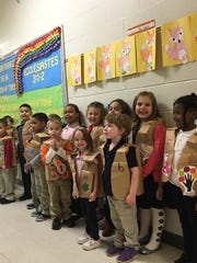 Students in the K-4 class line up at Cumberland Christian