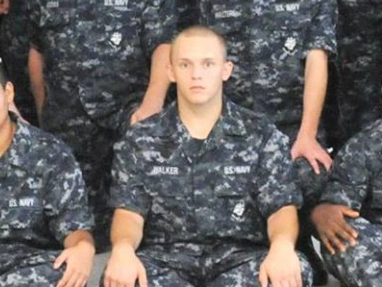 Damian Douglas Walker, who was charged with threatening the LCC campus Wednesday, is pictured in the center of the front row of recruits in this photo posted on the U.S. Navy Recruit Training Command Facebook page on Aug. 17, 2016.
