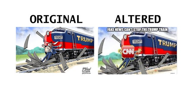 Before and after of the altered Gary Varvel cartoon tweeted out Tuesday morning by President Donald Trump.