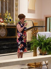 Margaret Shaw at the podium, commenting on her years of service, at the podium of the Chapel on campus at Mount Saint Mary Academy on April 9.