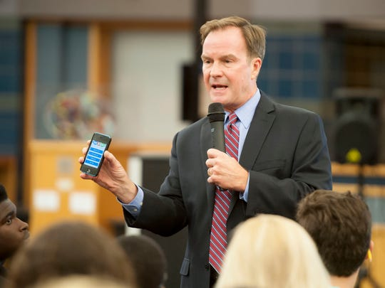 Michigan Attorney General Bill Schuette kicks off the presentation and talks about the OK2Say phone app.