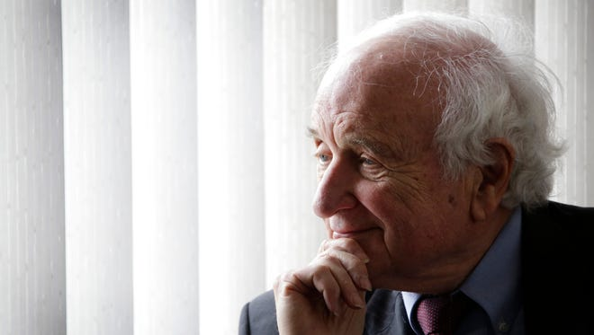 Congressman Sander Levin listens to survivors of domestic abuse during a budget tour about the impact of cuts on programs proposed in President Donald Trump's budget at a Domestic Violence/Legal Aid Roundtable, at Turning Point in St. Clair Shores Thursday April 13, 2017.