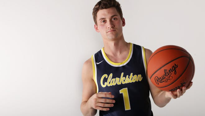 Foster Loyer of Clarkston High School received the 38th annual Hal Schram Mr. Basketball award given by the Basketball Coaches Association of Michigan in Detroit on Monday, March 19, 2018.