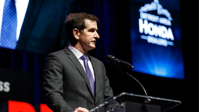 Host Jamie Samuelsen speaks  during the Detroit Free Press Sports Awards on May 18, 2018 at The Fillmore Detroit.