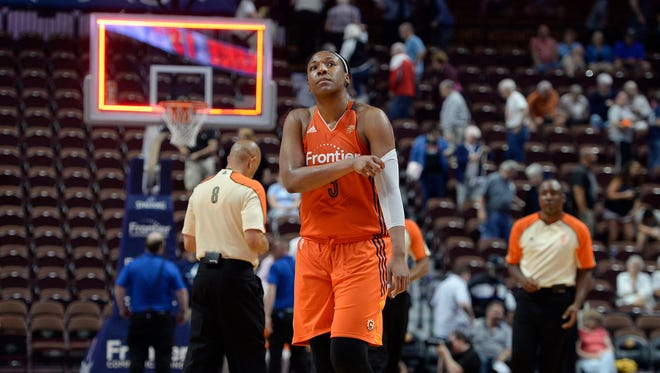 Connecticut Sun's Kelsey Bone walks off the court at the end of a WNBA basketball game against the New York Liberty, Thursday, June 16, 2016, in Uncasville, Conn.