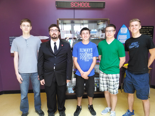 South Amboy's Biology 2  Team finished in 10th Place in the state out of 124 participating schools. In addition, student John Paul Bellanich finished in the top 10 percent of students participating on the exams; he was the eighth-ranked student in the state out of more than 300 students participating. Left  to right:  John Paul Bellanich, Jordan Drevelus, Joseph Wells, Michenzey Buczek and Patrick Walsh. Missing from the photo are team members Randy Breigle and Brendan O'Keefe.