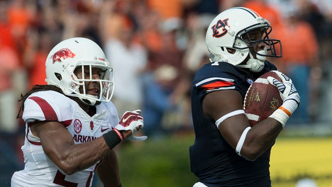 Auburn wide receiver D'haquille Williams had nine catches for 154 yards and a touchdown against Arkansas.