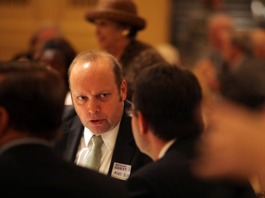 Mark Blake, Republican candidate for New Castle County Executive speaks with Matt Meyer, Democratic candidate for the office, at a Wilmington Rotary Club meeting earlier this month.