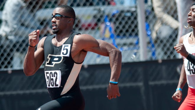 Raheem Mostert runs away from the field Sunday at the Big Ten track and field championships.