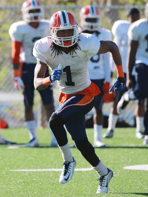 UTEP cornerback Kalon Beverly goes through drills earlier this year.