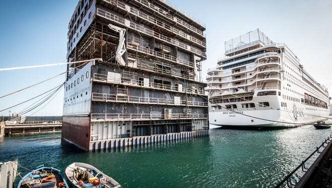To do it, MSC had a matching section of the ship pre-built.