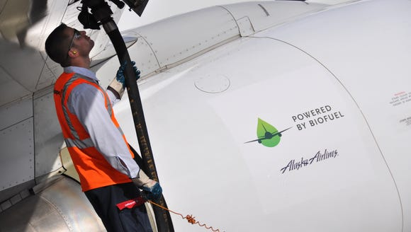 A file photo of fuel being pumped into an Alaska Airlines