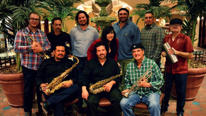 The Latin Funktion Project is made up of 10 core musicians: top row, left to right: Chad Morris, Armando Alvillar, Chris Rodriguez, Marcos Cadena, Frank Lujan and Irmo Negron. Bottom row, left to right: Joe Satarain, Jerry Chavez, Priscilla Chavez, and Ron Leone.