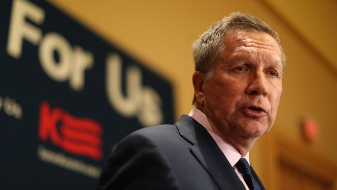 Republican presidential candidate John Kasich holds a press conference April 20, 2016, during a visit to the Republican National Committee Spring Meeting at the Diplomat Resort in Hollywood, Florida.