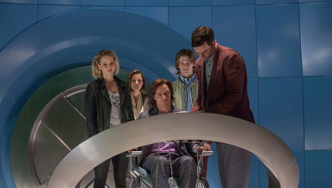 "Jennifer Lawrence as Raven/Mystique, left, Rose Byrne as Moira MacTaggert, James McAvoy as Charles/Professor X, Lucas Till as Alex Summers/Havok and Nicholas Hoult as Hank McCoy/Beast in ""X-Men: Apocalypse."""