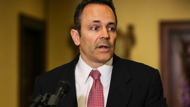 Gov. Matt Bevin holds a press conference June 17 to announce changes at the University of Louisville, including the expected departure of President James Ramsey and an overhaul of the Board of Trustees.