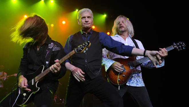 From Left, August Zadrat,Dennis DeYoung and Jimmy Leahey  of the Dennis DeYoung band perform at the Seminole Hard Rock Hotel and Casinos' Hard Rock Live on Monday , Aug. 20, 2012 in Hollywood, Fla. (Photo Jeff Daly/Invision/AP Images)