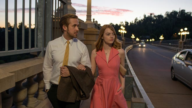 "Ryan Gosling as Sebastian and Emma Stone as Mia in ""La La Land"" directed by Damien Chazelle. The movie opens Thursday at Frank Theatres Queensgate Stadium 13."