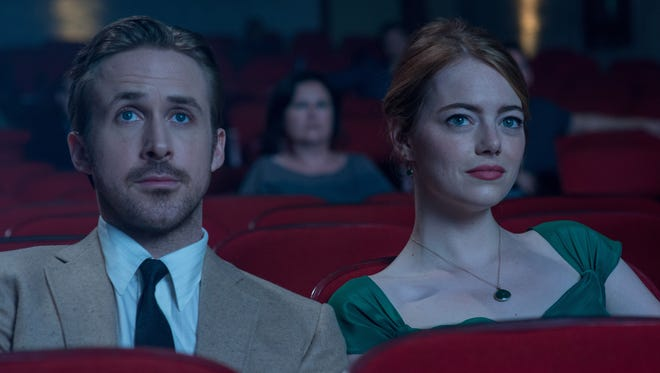 Ryan Gosling and Emma Stone fall in love in 'La La Land.'
