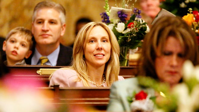 Rep. Dawn Keefer, R-Dillsburg, during the swearing-in ceremony at the Capitol in Harrisburg, Tuesday, Jan. 3, 2017. Dawn J. Sagert photo