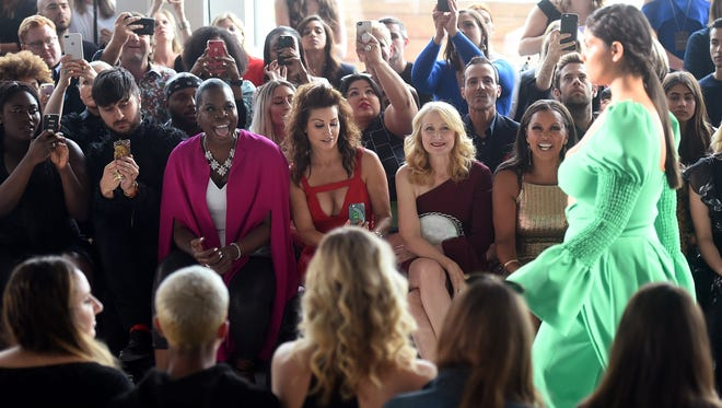 Brad Walsh, Leslie Jones, Gina Gershon, Patricia Clarkson and Vanessa Williams attend the Christian Siriano fashion show during New York Fashion Week.