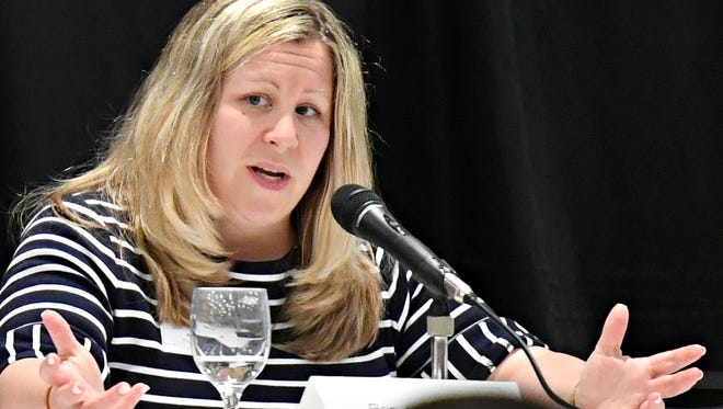Rep. Kate Klunk, of the 169th House District, speaks during the Legislative Panel Discussion on the State Budget as the York County Economic Alliance hosts its Spring Legislative Luncheon at Wyndham Garden York in West Manchester Township, Thursday, May 17, 2018. Dawn J. Sagert photo