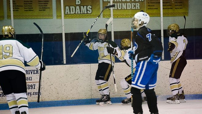 Howell's Steven Mullally celebrates a goal in a 4-3 victory over Lakeland.