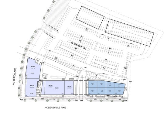 A site plan showing how the project would sit at Nolensville Pike and Napolean Avenue.