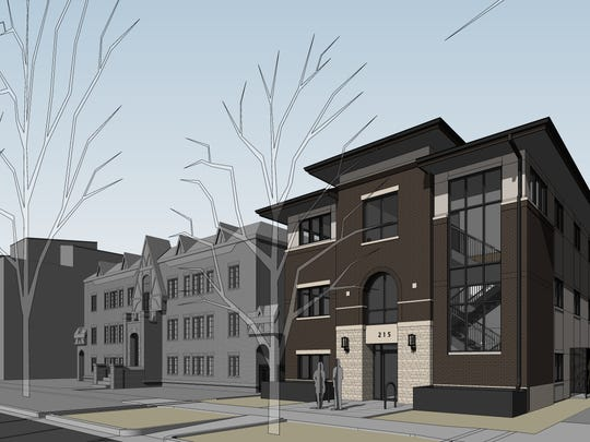 A rendering of 215 Mathews St., which will be home to a law office and other businesses.