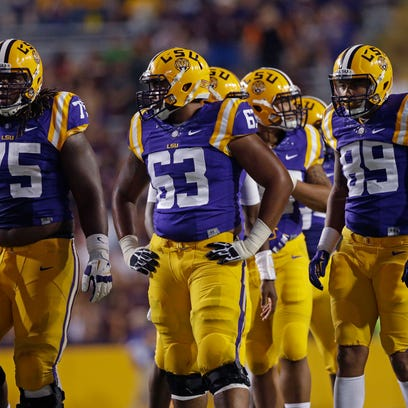 LSU offensive linemen Evan Washington (75) and K.J. Malone (63) might see some more action when the Tigers face Miss. State on Saturday.