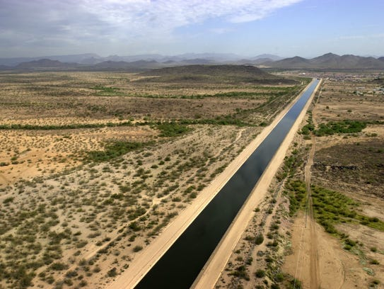 Colorado River water flows from western Arizona through