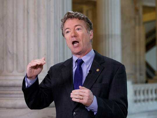 """Sen. Rand Paul, R-Ky., criticizes the House Republican healthcare reform plan as """"Obamacare light"""" during a television interview on Capitol Hill in Washington, Tuesday, March 7, 2017."""