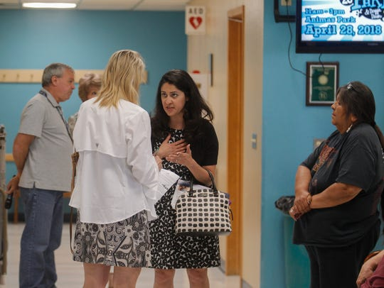 Court of Appeals candidate Briana Zamora speaks with community members Friday at the Bonnie Dallas Senior Center in Farmington.