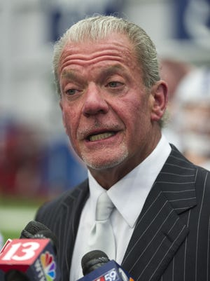 Jim Irsay, owner and CEO of the Indianapolis Colts, talks with reporters. The Indianapolis Colts hosted the Chuckstrong Tailgate Gala Friday, April 24, 2015, at Indiana Farm Bureau Football Center. The event brought about 600 guests together to raise money for cancer research at the IU Melvin and Bren Simon Cancer Center.