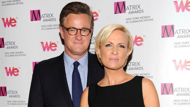 "MSNBC's ""Morning Joe"" co-hosts Joe Scarborough and Mika Brzezinski in New York on April 22, 2013."