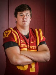 Iowa State senior tackle Jake Campos poses for a portrait