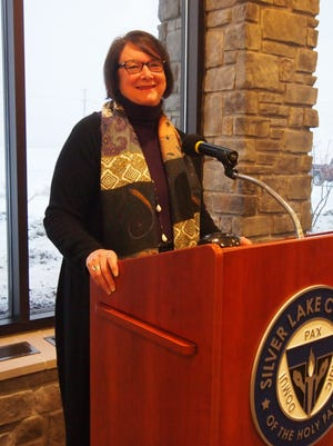 Lola Roeh, general manager for The Osthoff Resort in Elkhart Lake presented about strategic planning at the President's CEO Breakfast Series at Silver Lake College Wednesday.